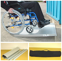 aluminium wheelchair ramp with chair