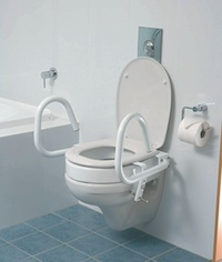 picture of toilet with seat spacer and support arms