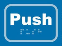 Image of Braille/tactile Push sign