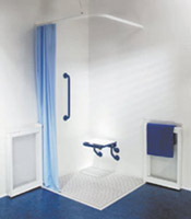 Image of level access shower grille enclosure