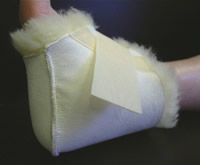 Image of sheepskin heel protector