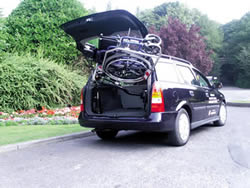 image of boot hoist lifting power chair into car