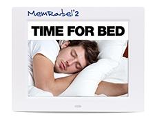 Memrabel cognitive aid showing reminder to go to bed