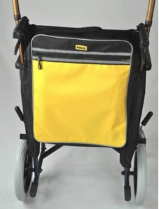 yellow storage bag for the back of the wheelchair