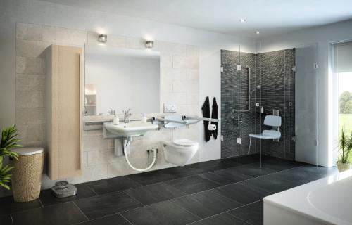 track-based adjustable bathroom solutions