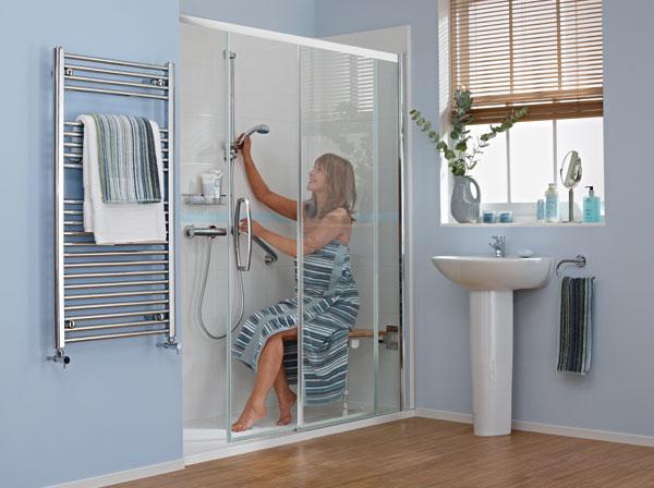 Rejuvenate shower in use