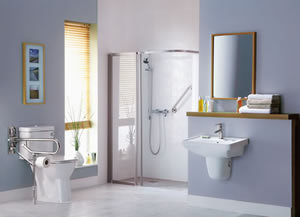 Bathroom with mobility supports