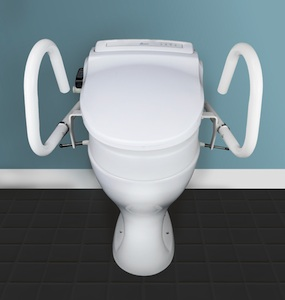 Toilet with support rails and seat raiser
