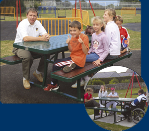 Image of accessible picnic table in use