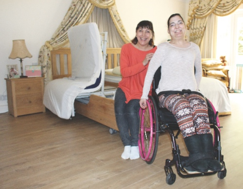 Natasha and her mother Rosalind with the new Theraposture Rotoflex bed
