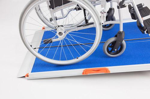 Premium folding ramp with blue nonslip surface