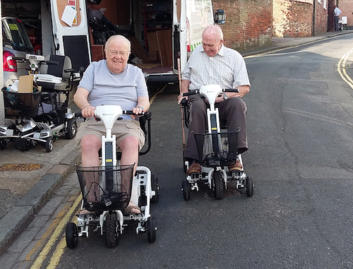 Mr Harris & Mr Prior on their Air 2 five wheel scooters