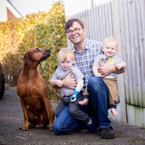 Ambionics founder Ben Ryan with Sol, Dax and Woody the dog