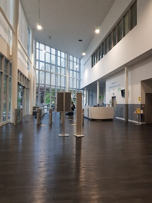 COVID secure leisure centre reception area